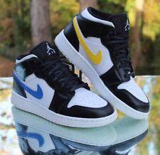 Nike Air Jordan 1 Mid Multi-Color Swoosh Size 5Y Black White 554725-052