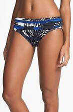 Tommy Bahama XS Striped Palm Sash Hipster Bikini Bottoms High Was it Blue
