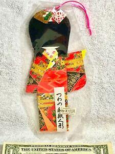 Old Japanese Kimono Obi Girl Washi Origami Red Gilt Paper Doll Gift Ornament EXC