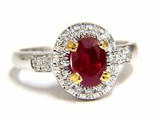 GIA Certified 1.95ct Natural Ruby Diamond Ring 18kt Vivid Red & Origin