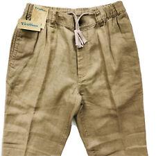 CARIBBEAN Brown Khaki 100% LINEN Drawstring Pants Men's 32x30 NEW NWT Nice!