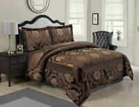 3 PCs Quilted Bedspread Set Jacquard Comforter Double,King,Super King /Chocolate