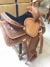 "Western Natural Barrel Racer Hand Carved 15"" Saddle With Silver Spots"