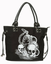 Banned Apparel Gothic Skull & Clock Rock Punk Alternative Rockabilly Handbag
