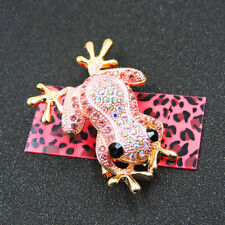 Exquisite Crystal Rhinestone Cute Frog Betsey Johnson Charm Brooch Pin Gift