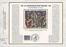 FEUILLET CEF / DOCUMENT PHILATELIQUE / 50° ANNIVERSAIRE FRONT POPULAIRE 1986