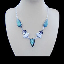 Labradorit & Biwa Perle grün blau Kette Halskette, Collier, Silber plattiert neu
