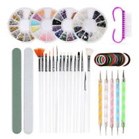 Acrylic Nail Kit Powder Glitter Nail Art Manicure Rhinestone Tips Brush Tool Set