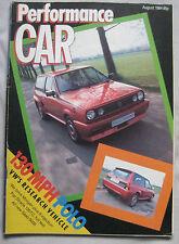 Performance Car 08/1984 featuring Mercedes 190E 2.3-16, Lotus, Morgan, Abarth