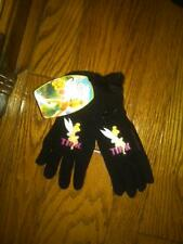 Nwt Girls Disney Tinker Bell Black Fleece Gloves - One Size