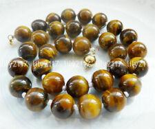 Fashion Handmade 10mm Yellow Tigers Eye Gemstone Round Beads Necklace 18inch AAA