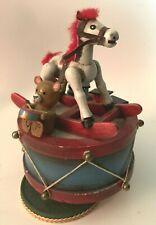 VINTAGE 1979 ENESCO WOODEN MUSIC BOX ROCKING HORSE BEAR TRAIN DRUM, TOYLAND