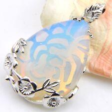 Gorgeous Shiny Flower Water Drop Rainbow Fire Moonstone Silver Necklace Pendants