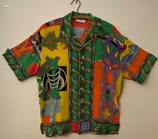 Vintage 1980's Timney Fowler Graphic Bold silk short sleeve shirt