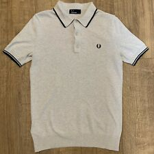 Fred Perry Textured Knitted 60s Oatmeal Beige Polo Shirt Mod Ska K7200 Small VGC