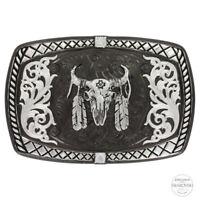Montana Silversmiths Black Nickel Buckle with Buffalo Skull Buckle 35510SB-447