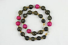Natural Clay Beads Necklace. Hand painted Kazuri type beads NCS25