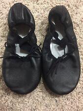 Girls Ballet Leather Shoes Size 13 Black Flats Ballet Scrunchie