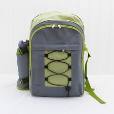 Picnic Backpack - with Accessories for 4 Persons in Grey and Lime
