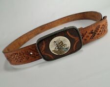 Lighthouse Buckle Tooled Leather Belt Sailboat Schooner Stitched Brown 40 Vtg