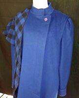 Genuine 80s Vintage Womens Royal Blue Long Winter Coat Large LG Pockets Scarf