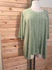LA BASS weich fließendes Blusen-Shirt mit Biesen hellgrün Gr 50-52 Lagenlook