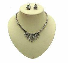 1950s Vintage Jewellery Rhinestone Necklace & Earrings Set 12379