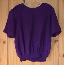 Alison Taylor Purple Silk Short Sleeve Shell, Women's XL