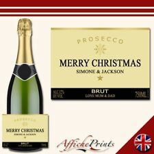 L84 Personalised Prosecco Gold Merry Christmas Brut Bottle Label - Perfect Gift!