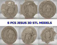 6pcs 3D STL Model JESUS CROSS Religion for CNC Router Artcam 3d printer aspire