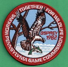"""Pa Pennsylvania Game Fish Commission NEW 4"""" WTFW 1982 Osprey REPRODUCTION PATCH"""