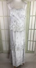 Montage Full Sequins Sparkling Lace Silver Gray Long Wedding Dress Size 12