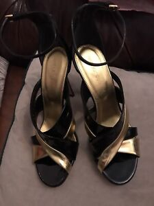 Sergio Rossi gold and patent heeled sandals size 38.5/5.5UK  NEW
