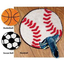"NEW! BASEBALL THROW RUG WASHABLE Anti-Skid backing 20"" Diameter BALL SALE Sports"