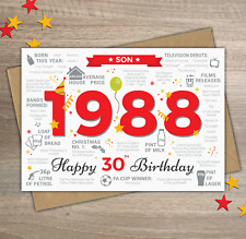 1988 SON Happy 30th Birthday Memories / Birth Year Facts Greetings Card Red
