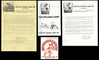 1960's Ted Williams Camp Ephemera Collection (4) Documents Letters Decal Red Sox