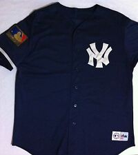 NY Yankees 125th Anniversary Blue Baseball Jersey Majestic Sewn Shirt48in Chest