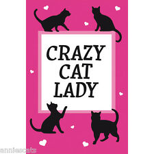 Crazy Cat Lady Pink Tea Towel Large Cotton Stylised 4 Black Cats