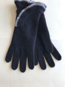 PORTOLANO 100% Black Cashmere Gloves Size L NWT