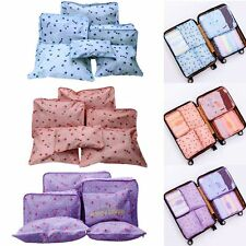 6 Pc Lingerie Cosmetic Travel Luggage Toiletry Pouch Bag Case Organizer-Cherry G