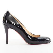 CHRISTIAN LOUBOUTIN Simple black patent leather almond round toe pumps heel EU36