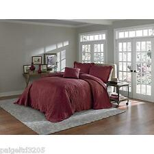 Cannon Full Luxurious Satin Fabric Bedspread Bed Spread - Burgundy