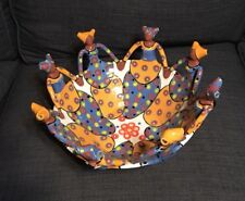 Clay Serving Bowl African? Island? Women Circle Handmade Colorful Unique