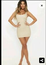 Gold Metallic White Rib Bodycon Mini Dress Size 8/10 Pretty Little Thing