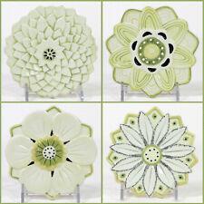 "MWW Market FLORA ROSA 4.5"" Mini Plate Set 4P Flowers Green White Embossed"