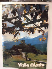 VINTAGE ORIGINAL VALLE D'AOSTA ITALIAN TRAVEL POSTER, CASTLE & GRAPES, 27 X 29