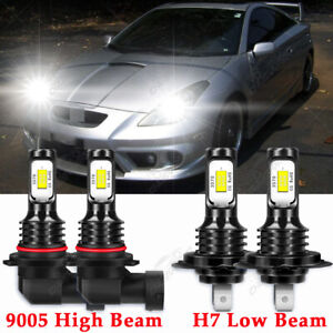 For Toyota Celica GT 2005-2003 - 4x 6000K 9005 H7 LED Headlight Lights Bulbs