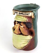 Doctor Gift Mug Super Surgeon Cup mugmugs Face Jug Handmade Clay Pottery