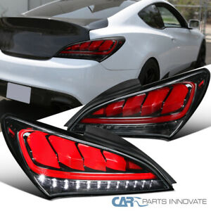 For 10-16 Genesis Coupe Pearl Blk LED Sequential Corner Signal Tail Brake Lights