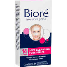 Biore 14 DEEP CLEANSING PORE STRIPS 7-NOSE & 7-FACE Instantly Unclogs Pores HQ